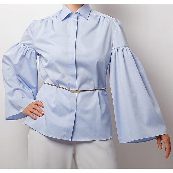 Blue shirt with puffy sleeves ZETA 2