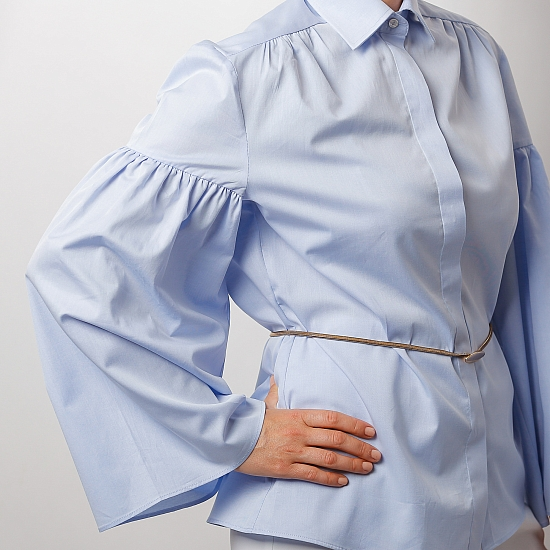 Blue shirt with puffy sleeves ZETA 1