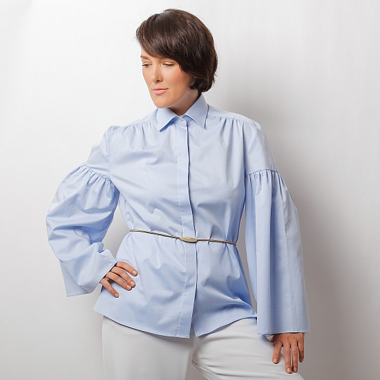 Blue shirt with puffy sleeves ZETA 5