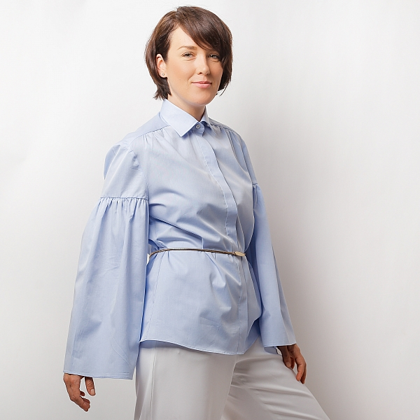 Blue shirt with puffy sleeves ZETA