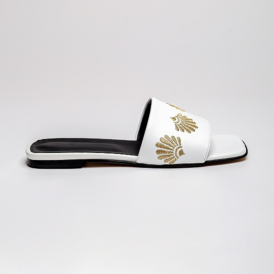 White leather flat sandals GRANDEUR 1