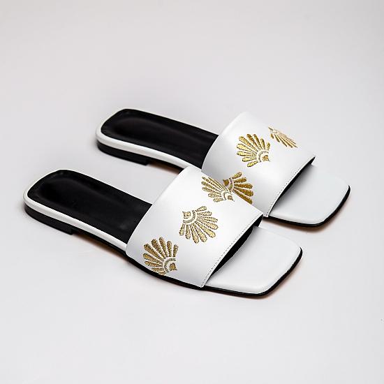 White leather flat sandals GRANDEUR 3