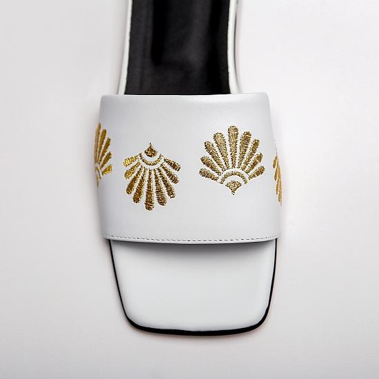 White leather flat sandals GRANDEUR 2