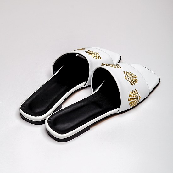 White leather flat sandals GRANDEUR 4