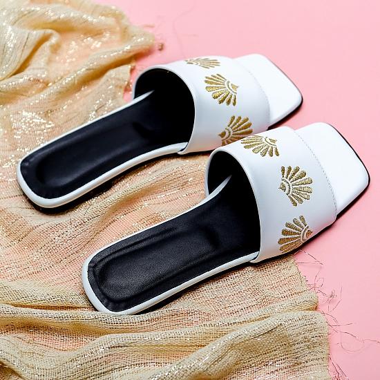 White leather flat sandals GRANDEUR 5