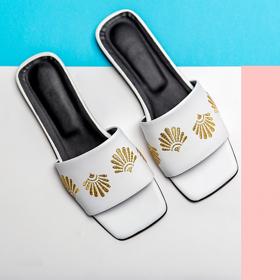 White leather flat sandals GRANDEUR 0
