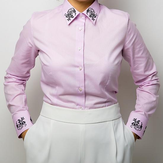 Camasa roz brodata Grandeur 0