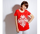 T-shirt red FLOWER organic cotton