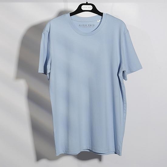 T-shirt bleu en coton bio 0