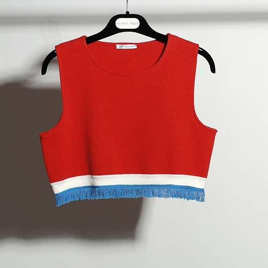 Red vest with white line 0