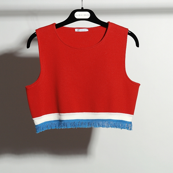 Red vest with white line