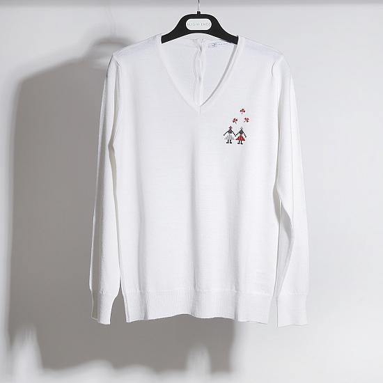 Pulover alb din lana merinos Hora fetelor 0