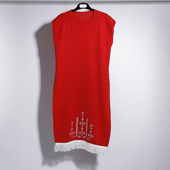 Rochie rosie din tricot brodata SCARLET 5