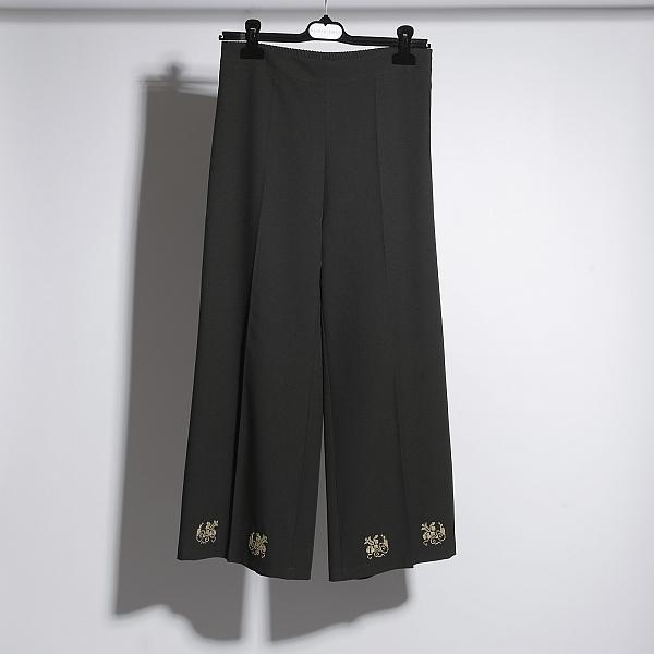 Pantaloni negri brodati Grandeur