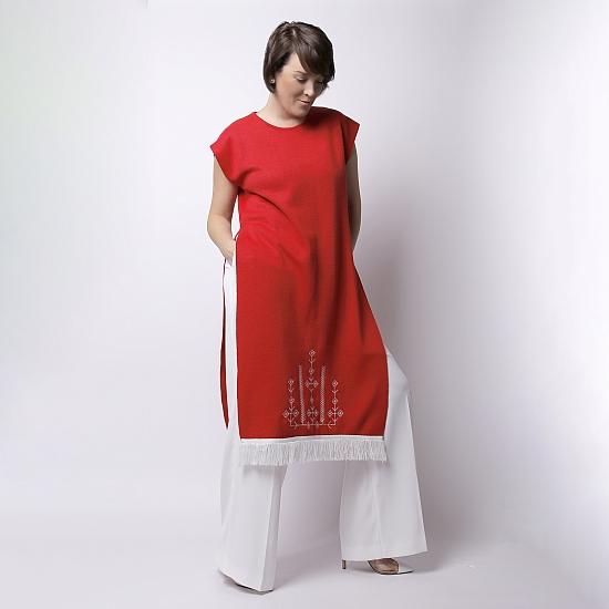 Rochie rosie din tricot brodata SCARLET 0