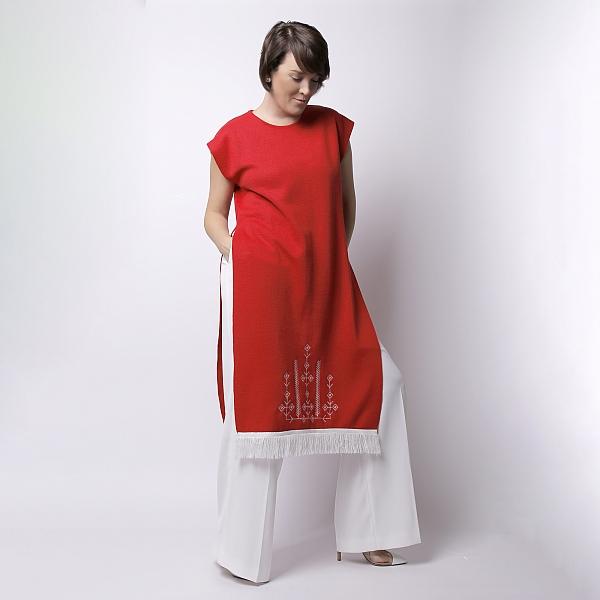 Rochie rosie din tricot brodata SCARLET