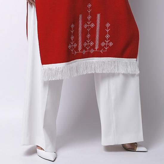 Rochie rosie din tricot brodata SCARLET 3