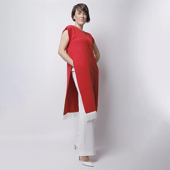Rochie rosie din tricot brodata SCARLET 1