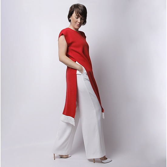 Rochie rosie din tricot brodata SCARLET 4