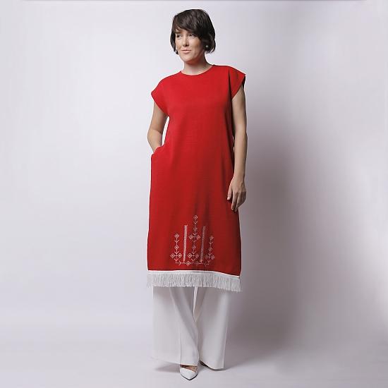 Rochie rosie din tricot brodata SCARLET 2